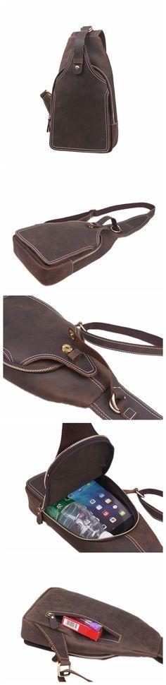 Leather Messenger Bag, Shoulder Bag, Chest Bag, Waist Pack
