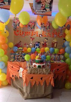 Finally My Flinstones Nephew´s Birthday Party Decoration. inside Pebbles Flintstone Party Decorations - Best Home & Party Decoration Ideas Birthday Party Images, Birthday Party Decorations, Birthday Ideas, Baby 1st Birthday, 1st Birthday Parties, Os Flinstones, Pebbles And Bam Bam, Baby Shower Parties, First Birthdays