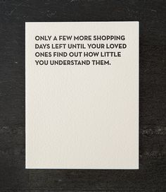shopping days. holiday. letterpress card. red by shopsaplingpress