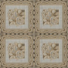 """54"""" wide Vinyl Printed Ivory Lace Oil Cloth - 30 Yards (no felt back) offers an elegant crochet look with its embossed transparent lining."""