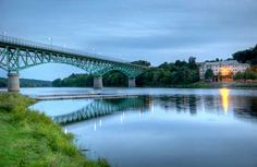 Augusta Memorial Bridge over the Kennebec River in Augusta, Maine.