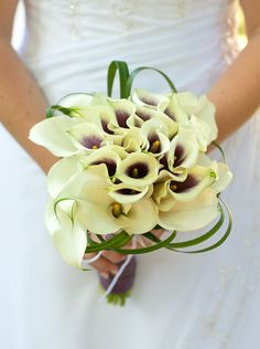 Small white calla lilies and Picasso calla lilies with lily grass for my bridal bouquet. (Photos by Foto Bella Photography 2012)