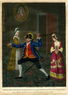 A man demonstrates his courage and determination by brandishing his small-sword to the admiration of two women in a room; an illustration to Garrick's 'Miss in her Teens'.  1774  Hand-coloured mezzotint