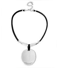 Robert Lee Morris Soho Sculptural Leather Oval Pendant Necklace #Dillards