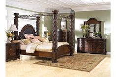"The North Shore Poster Bedroom Set from Ashley Furniture HomeStore (AFHS.com). A rich traditional design and exquisite details come together to create the ultimate in the grand style of the ""North Shore"" bedroom collection."