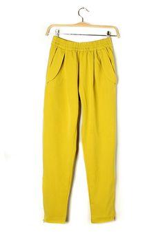 Yellow Zipper Mid Waist Cotton Blend Pants