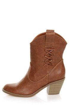 Soda Tri Cognac Brown Cowboy Boots - Vegan $33.00