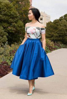 Mel Skirt  Royal Blue Ultra Versatile Midi Skirt by AltanStore-$220.00