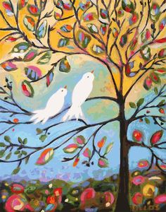 Love Birds in Tree Print - Print by Karen Fields 11 x 14
