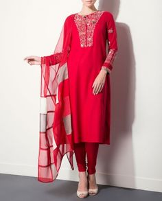 Red Kurta Set with Indian Miniature Art by AM:PM Indian Ethnic Wear, Designer Style, India Designs, Indian Salwar Suits, Embroidery of India, Autumn/Winter 2015 Collection, Ankur Modi & Priyanka Modi, Anarkali Fashion Trend