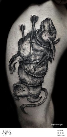 Robert Borbas Tattoo   @ grindesign - Rabbit Martyr #neotraditional
