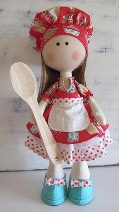 Muñeca cocinera de tela muñeca hecha a mano muñeca de trapo