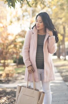 cute & little blog | petite fashion | maternity baby bump pregnant | pink wool coat, gray striped maternity tunic, white jeans, leopard pumps, lariat necklace | fall winter outfit | third trimester