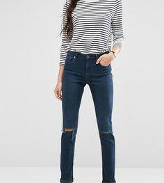 ASOS TALL Kimmi Shrunken Boyfriend Jeans in Grace Dark Stonewash with