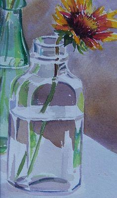 Bottle Still life watercolors