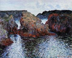 artist-monet: Belle-Ile Rocks at Port-Goulphar Claude Monet Claude Monet, Monet Paintings, Landscape Paintings, Abstract Paintings, Paintings Famous, Contemporary Paintings, Artist Monet, Clark Art, A4 Poster
