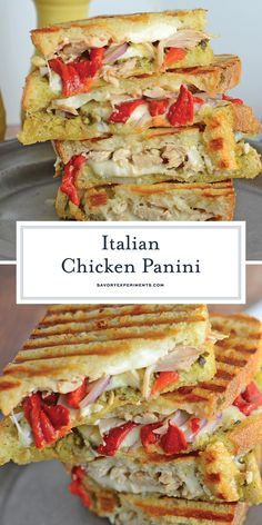 Italian Chicken Panini Recipe is made up of crusty bread filled with gooey mozza., Italian Chicken Panini Recipe is made up of crusty bread filled with gooey mozzarella cheese, roasted red pepper, shredded chicken and lots of garlick. Pannini Sandwiches, Paninis, Wrap Sandwiches, Chicken Pesto Sandwich, Chicken Panini, Roast Chicken Sandwich Recipes, Shredded Chicken Sandwiches, Monte Cristo Sandwich, Caprese Panini