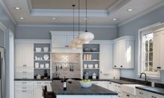 Best Blue Gray Paint Colors (21 stylish dusty blues) | The Flooring Girl Paint For Kitchen Walls, Kitchen Paint Colors, Room Paint Colors, White Kitchen Cabinets, Paint Colors For Home, Kitchen With Blue Walls, Blue Gray Kitchens, Kitchens With Color, White Kitchens