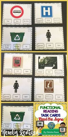 Great for life skills and special education classrooms, these 70 task cards focus on environmental print to read a variety of words and match them to the community signs.