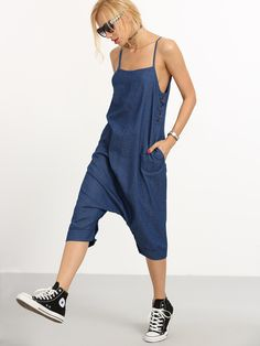 Overall Pant Style Jumpsuit #Blue, #Solid, #PantStyle