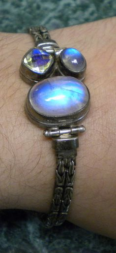 3 Blue Moonstone Sterling Silver Toggle Bracelet by SMBJewelry, $80.00