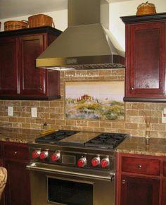 Kitchen Backsplash Cherry Cabinets ivory backsplash with cherry cabinets |  coffee machine