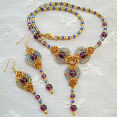 Micro Macrame PATTERN -  Fans Necklace and  Earrings