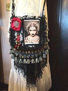 handmade gypsy goth black red art nouveau deco woman spike crown festival purse #gypsygothichippie #MessengerCrossBody