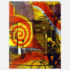 Amsterdam Afternoon  by Deanna Fainelli ..Mixing street photography with bright acrylic paint, California-based artist Deanna Fainelli creates edgy artwork of city scenes. She uses an image transfer technique similar to Robert Rauschenberg's, and the resulting mixed media collages look comparable to screenprints, but with more random, uncontrolled outcomes. Fainelli embraces this element of spontaneity.. Printed on board, this raw original work captures the frenetic energy of an everyday…