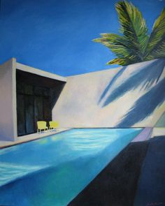 """Saatchi Art Artist: Ieva Baklane; Oil 2010 Painting """"""""Pool and two yellow chairs""""."""""""