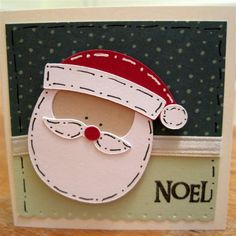 stampin up santa card | Santa is from Doodlecharms. I am really enjoying this old cartridge ...