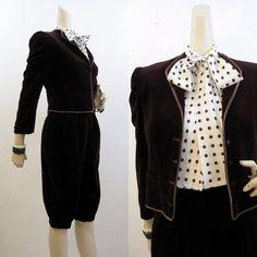 80s Suit Vintage Oxblood Velvet Knickers Jacket by voguevintage, $54.00