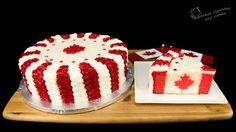 Canadian Flag Cake for Canada Day (Surprise Inside Cake) Cool idea! Cars Cake Pops, Maple Leaf Cookies, Surprise Inside Cake, Canada Day Party, Wedding Cake Cookies, Flag Cake, Canadian Food, Canadian Recipes, Cake Recipes