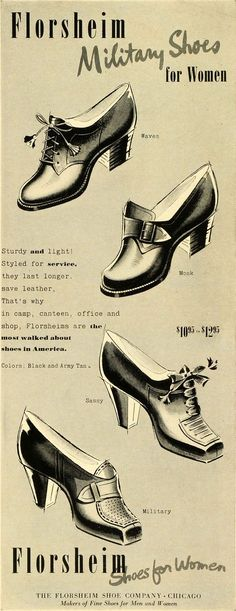 1942 Ad Florsheim Military Shoes Women Fashion World War II Heels Laces LF5