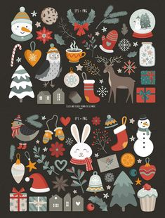Christmas collection by Wenona on Illustration Noel, Winter Illustration, Christmas Illustration, Christmas Mood, Noel Christmas, Christmas Projects, Classy Christmas, Christmas Graphics, Christmas Clipart