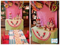 Matryoshka doll party~love the streamers and invitations and giant matryoshka cardboard look-through