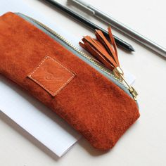 Natural leather purse / repurposed ginger suede leather / pencil case / leather tassel