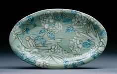 Karen Burk, Fish on Green Oval with Roses