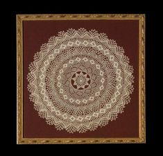 Doily, Armenian needle lace, c. 1950s; Almas Boghosian (b. 1907); Whitinsville, Massachusetts; Cotton and polyester thread; 11 5/8 x 11 5/8 x 3/4 in. framed; 9-1/2 in. diam. Unframed; Collection of the artist; Photography by Jason Dowdle