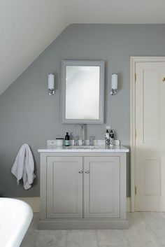 Cool devol-kitchens: Incorporate Bathroom Furniture to Your New Bathroom Suite – Vintage Decor Bathroom Sink Units, Loft Bathroom, Grey Bathrooms, Bathroom Interior, Small Bathroom, Sink Vanity Unit, Grey Vanity Unit, Loft Ensuite, Cloakroom Vanity Unit