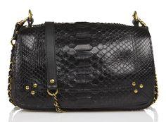 Sac Bobi Python Noir by JEROME DREYFUSS Jerome Dreyfuss, Python, Leather And Lace, Black Leather, Boho Fashion, Studs, Shoulder Bag, Handbags, Shopping