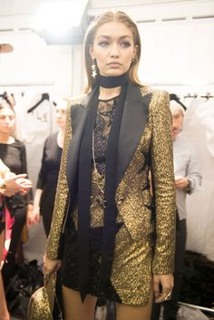 Gigi Hadid backstage at the Elie Saab show as part of the Paris Fashion Week Womenswear Spring/Summer 2017 on October 1, 2016 in Paris, France.