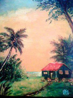 """Hawaii Dream Shack   Oil on Canvas   8"""" x 10"""""""