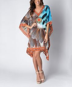 Look at this Yuka Beach Orange & Blue Abstract Caftan on #zulily today!