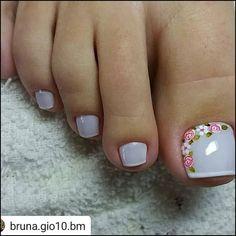 180 eye catching toe nail art ideas you must try page 57 Pretty Toe Nails, Cute Nails, Toe Nail Art, Acrylic Nails, Hair And Nails, My Nails, American Nails, Nail Brushes, Toe Nail Designs