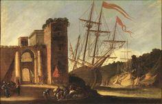 Lot : Agostino Tassi  - (Roma 1580 - 1644)  - VEDUTA DI PORTO DI FANTASIA  - olio su tela,[...]   Dans la vente 14th to 20th century Paintings (Firenze) à Pandolfini Casa d'Aste