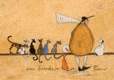 """"""" New Friends For Rover """" Sam Toft Open Greeting Card - ST987"""