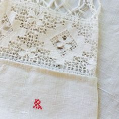 Antique Hand Woven Linen Hand Towel with by marypearlsvintage