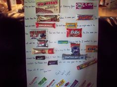 For a sick friend. From the whole crew. Mom Birthday Crafts, Grandpa Birthday Gifts, 50th Birthday Quotes, 90th Birthday Gifts, Birthday Gift Baskets, Candy Signs, Candy Bar Posters, Candy Board, Gifts For Mom