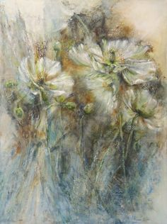A SIP OF SPRING. Oil 100x75 cm by Mariana Zwaan.  White poppies  do a delicate dance.